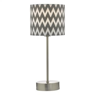 Ziggy Table Lamp Satin Nickel With Cotton Shade