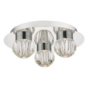 Zondra 3lt Flush Polished Chrome & Glass LED Bathroom IP44
