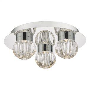 Zondra 3lt Flush Polished Chrome & Glass LED Bathroom IP44