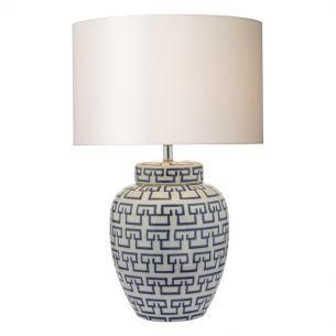 Lycett Table Lamp Ceramic White & Blue Base Only