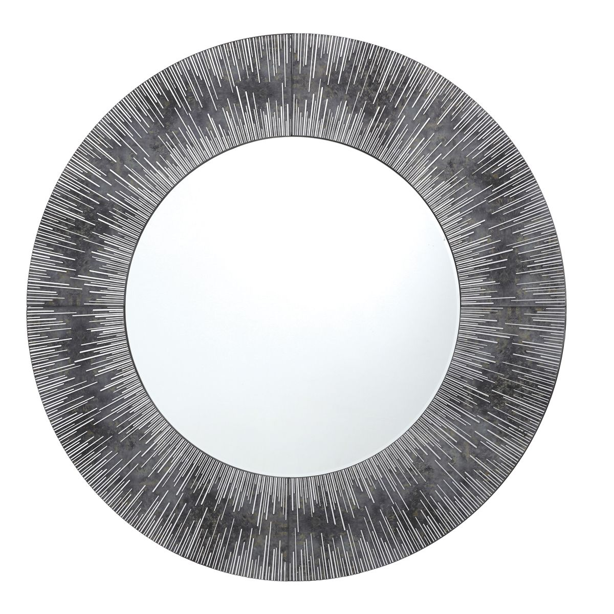 Neome Round Mirror With Silver Grey Frame 80cm