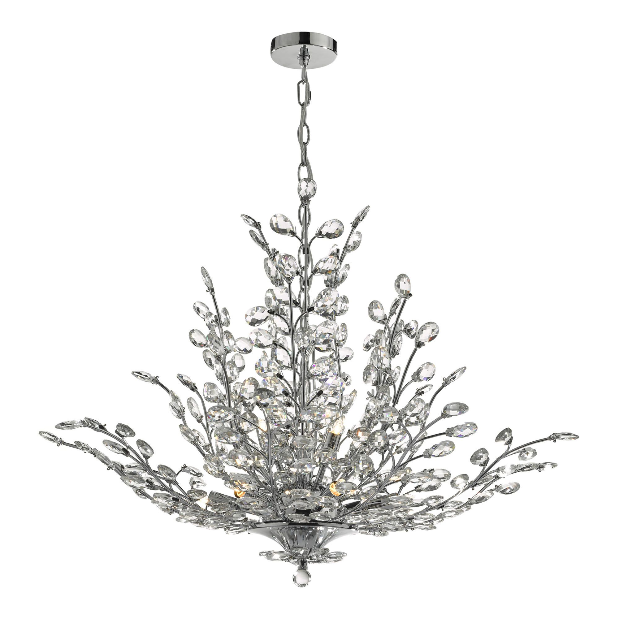 Branch of Light 10 Light Chrome Chandelier with Clear
