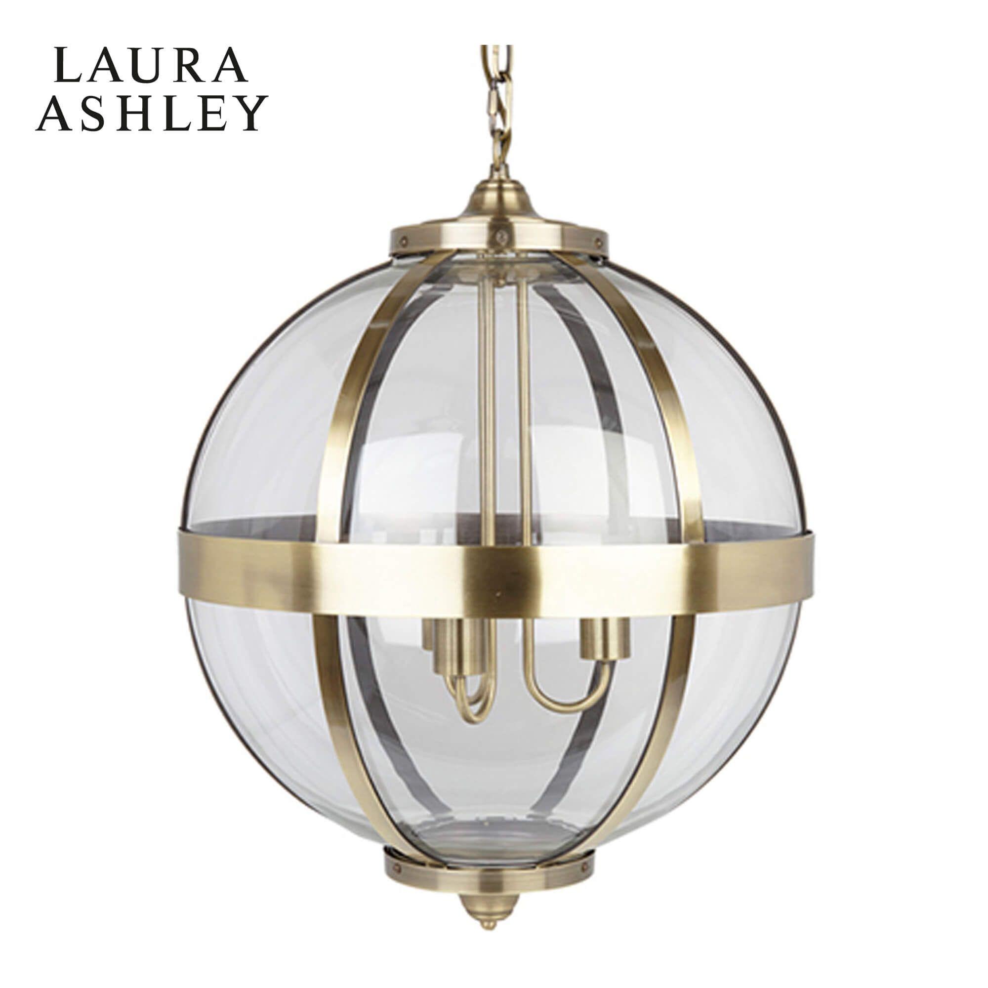 Picture of: Laura Ashley Odiham Globe Lantern Antique Brass Glass
