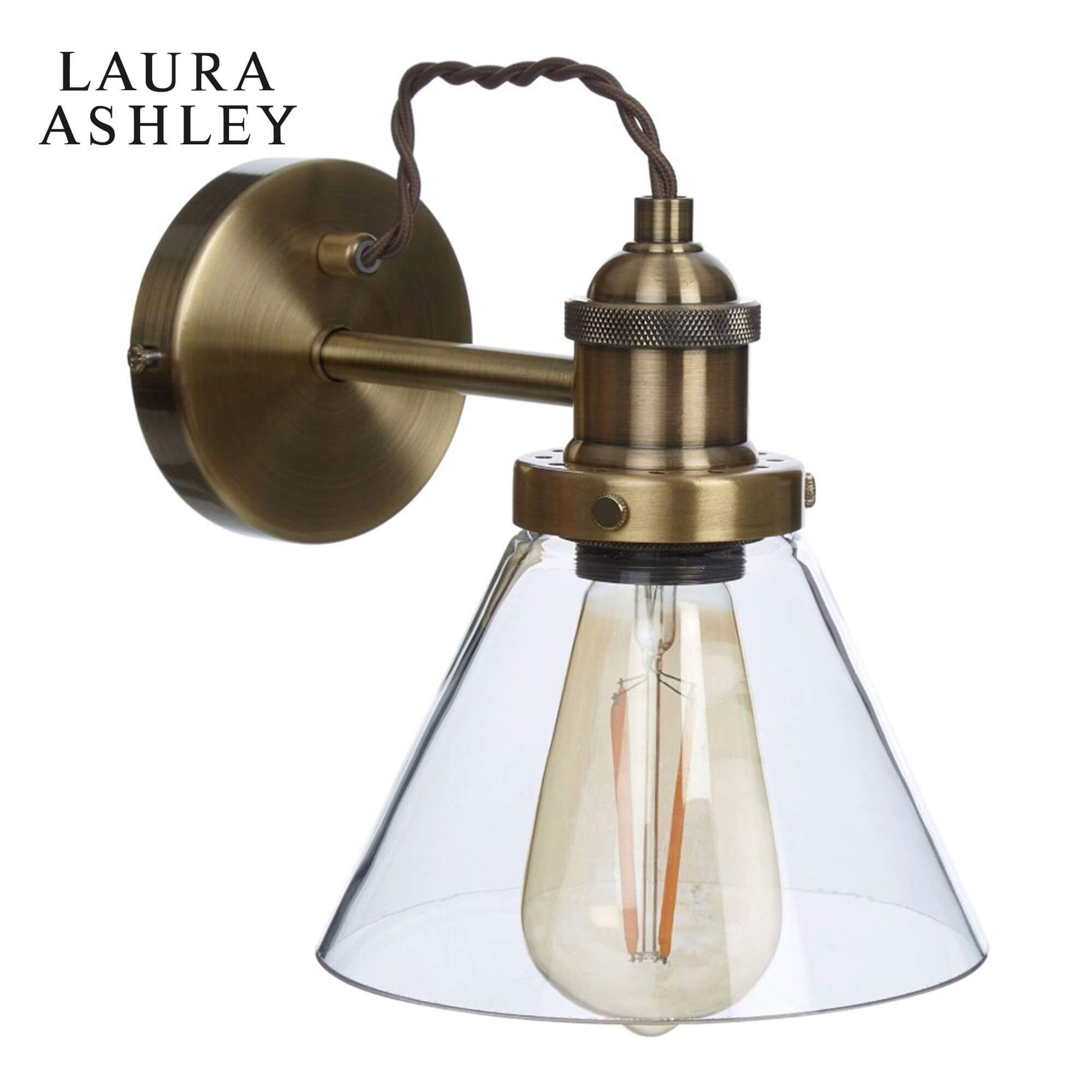 Laura Ashley Isaac Wall Light Antique Brass Glass