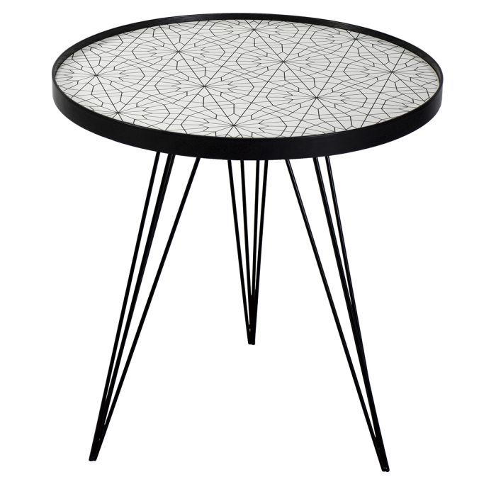 Sibford Round Side Table Black White Print Top