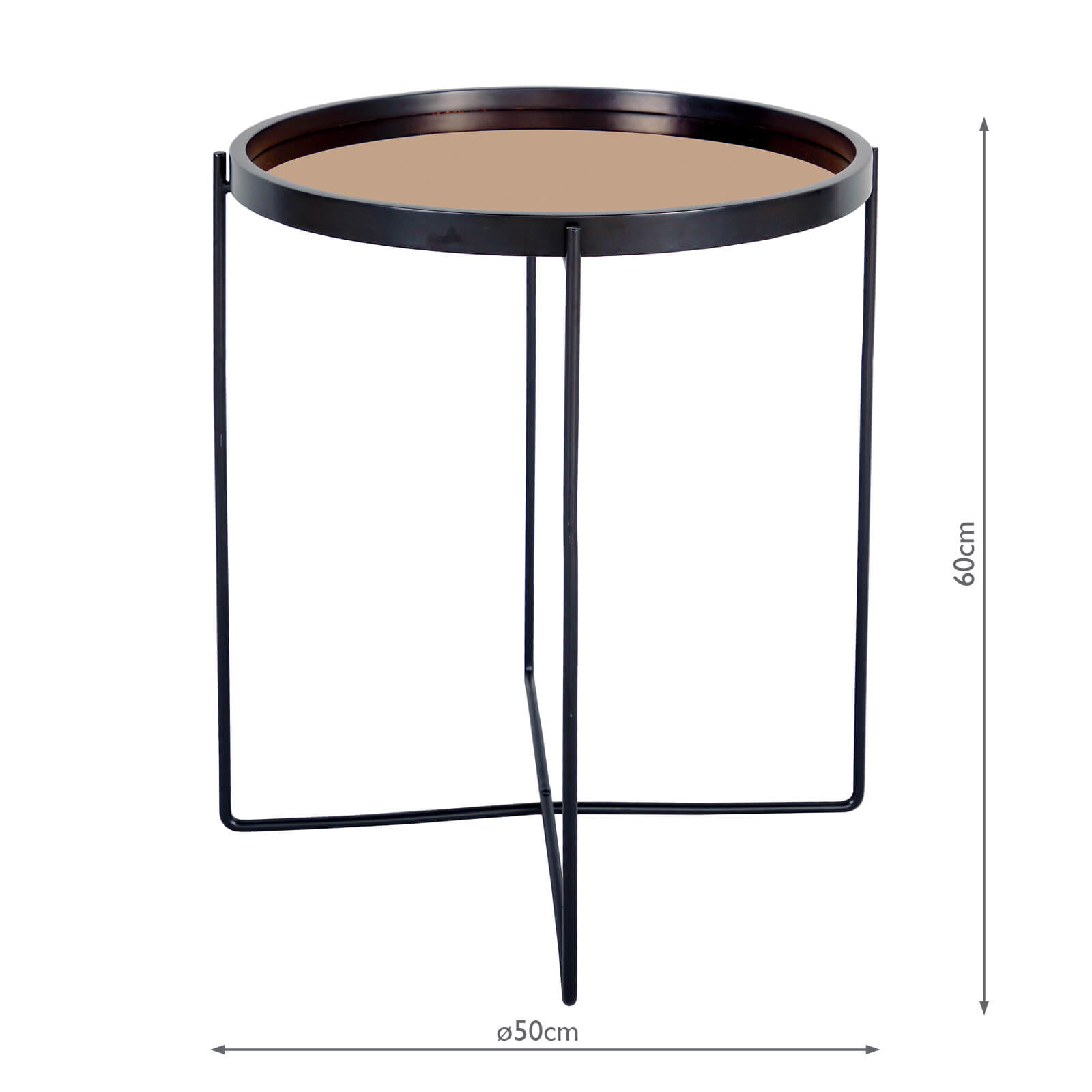 Anzio Small Satin Black Table With Rose Gold Mirror Top